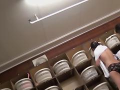 Long legged Japanese girls naked in changing room pk06