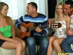 Slutty blonde teens are nailed by big cocks in a foursome