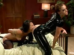 Tied up Asa Akira gets her Asian pussy licked and toyed