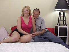 Chubby blonde skank gets fondled and fucked in missionary position