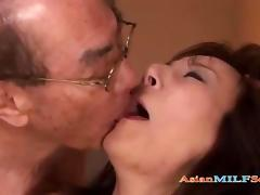 Asian Milf Dominated By her Old Husband And Friends