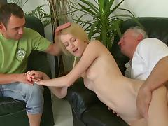 Old and Young, Blonde, Old Man, Riding, Small Tits, Old and Young