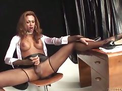 Lewd tranny Mirella gets her cock sucked and her ass slammed