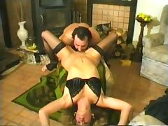 Vintage blonde bitch jumps on a cock after sucking it ardently