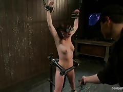 Lindy Lane gets her shaved pussy toyed hard in BDSM scene