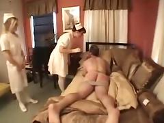 Dominant nurses fuck their patient with a toy