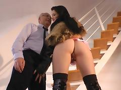 Shaved Pussy, Blowjob, Boots, Brunette, Couple, Fishnet