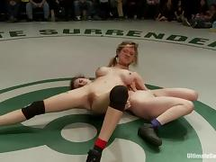 Nude girls wrestle and have wild lesbian sex in public