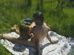 Hot Girl With Petite Natural Tits Gives Her Dude Blowjob Outdoors