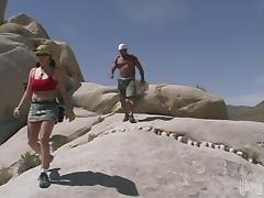 Horny girl with big boobs gets fucked while hiking