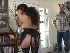 Lewd Latina Bexxxy blows and gets her hairy cunt smashed