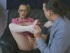Nerdy schoolgril is moaning with a huge one