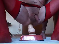 MY HUSSY RIDING DILDO IN RED OUVERT PANTYHOSE