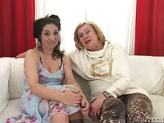 Two filthy and horny matures are licking each other