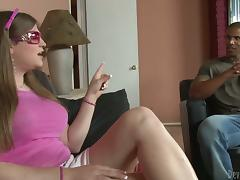 Lewd shemale Tiffany Starr gets her ass smashed by a black dude