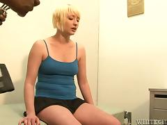 Short-haired Nora Skyy sucks a BBC and enjoys it hard doggy style