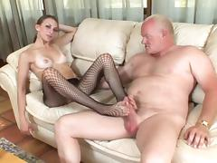 Footjob and blowjob by a kinky siren on an old fart