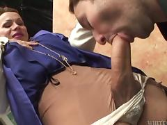 Miresa the horny tranny fucks and toys a guy in a bedroom