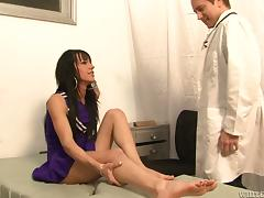 Transsexual Jordan Jay has sex with a doctor in a hospital