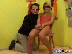 Blindfolded, Blindfolded, Blonde, Blowjob, Lick, Penis