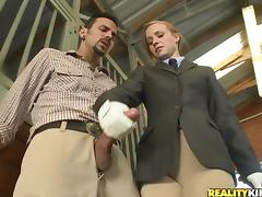Slim teen Ryann enjoys jumping on a cock in the stable