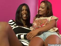 Black tranny enjoys fucking some hot bitch's pussy from behind