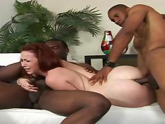 Two cocky black guys and sexy redhead model