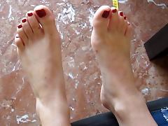 Nena's small sexy feet ready for footjob