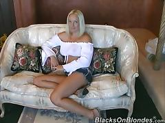 Sexy blond with hot tits is riding two men one by one