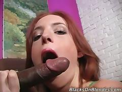 Sweet Redhead Babe Gets Interracial Hardcore Sex With Wild Black Dude