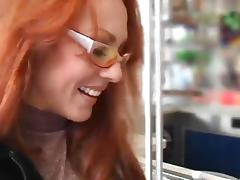 Redhead milf sucks his cum off in a blowjob
