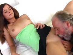 Old and Young, Blowjob, Brunette, Couple, Cumshot, Grandpa