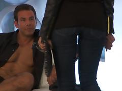 Steaming blond in leather suits wants to be fucked up