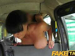 FakeTaxi - Busty Brunette loves Scottish cock