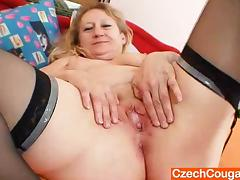 Mature Amateur Grandma Gets Out Her Toy and Drills Her Pussy