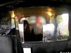 Busty ebony banged in a fake taxi