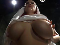 Busty bride fucks with hardcore babe in latex