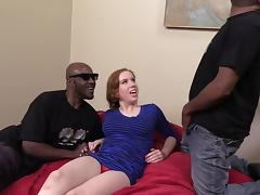 Redhead Kierra Wilde gets banged hard by Black guys