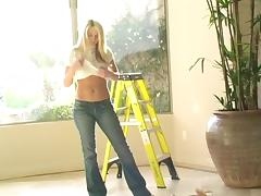 Sexy Solo Model Strips Off Her Very Tight, Sexy Jeans