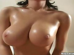 Appetizing Miriam Touches Her Big Tits Covered In Oil