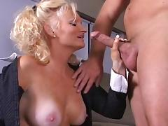 Spicy mature blonde is banging in her mouth
