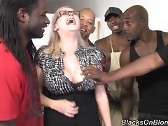 Curvy MILF Katie Kox gets gangbanged by Black guys