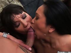 Couple of busty horny moms playing with enormous hard boner porn video
