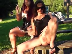 Cora Kitty and Lolita are masturbating in the park