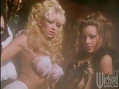 Three sexy girls in angel costumes toy each others pussies