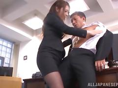 Office, Adorable, Asian, Blowjob, Boss, Cumshot