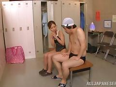 Japanese porn in the locker room with Chika
