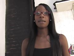 Black Girl with Glasses in a Crazy, Hardcore Interracial Gangbang