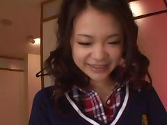 Kana Tsuruta enjoying rough fucking in her school uniform
