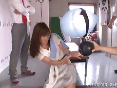 Nasty Asian teacher Minami Kojima in bukkake gangbang